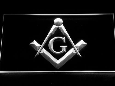 Image of Freemasonry LED Neon Sign - White - SafeSpecial