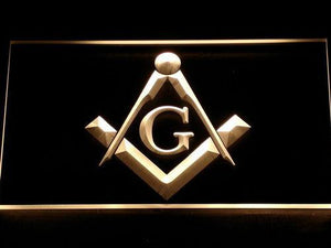 Freemasonry LED Neon Sign - Yellow - SafeSpecial