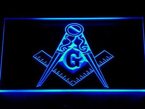 Image of Freemasonry Ornate LED Neon Sign - Blue - SafeSpecial