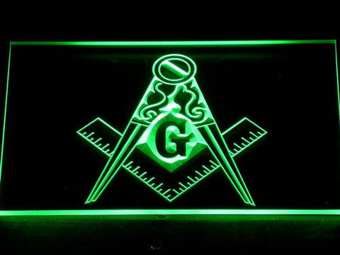 Image of Freemasonry Ornate LED Neon Sign - Green - SafeSpecial