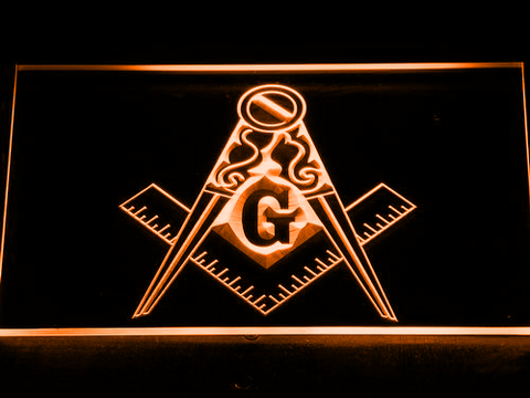 Image of Freemasonry Ornate LED Neon Sign - Orange - SafeSpecial