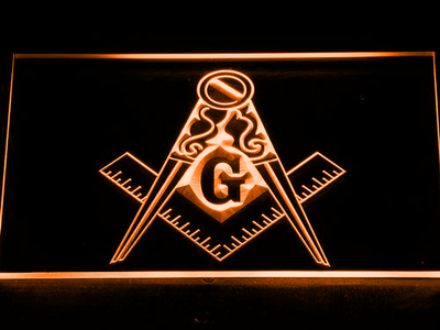 Freemasonry Ornate LED Neon Sign - Orange - SafeSpecial