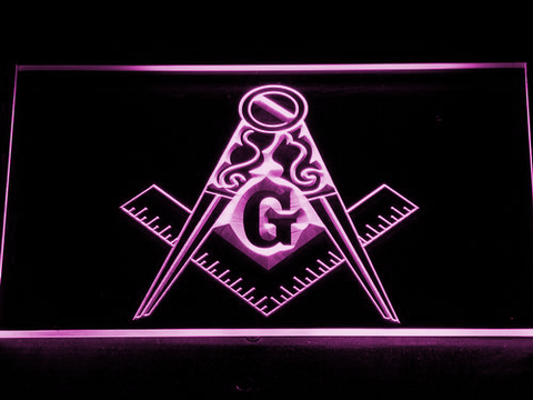 Image of Freemasonry Ornate LED Neon Sign - Purple - SafeSpecial
