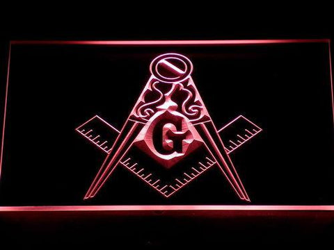 Image of Freemasonry Ornate LED Neon Sign - Red - SafeSpecial