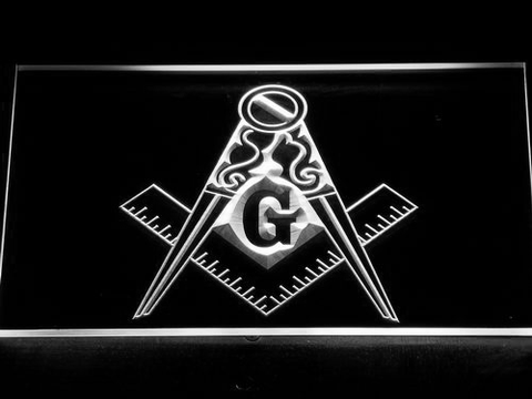 Image of Freemasonry Ornate LED Neon Sign - White - SafeSpecial