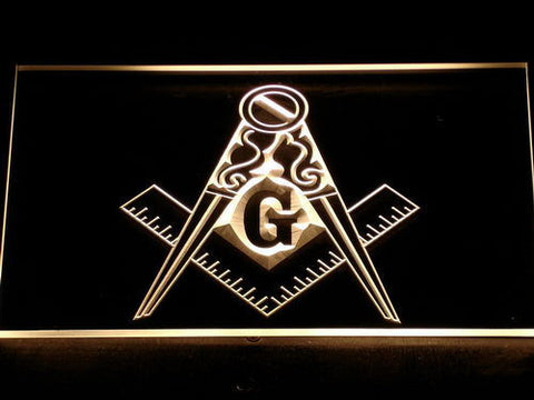 Image of Freemasonry Ornate LED Neon Sign - Yellow - SafeSpecial