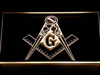 Freemasonry Ornate LED Neon Sign - Yellow - SafeSpecial
