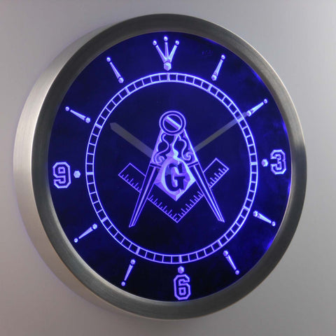 Image of Freemasonry Ornate LED Neon Wall Clock - Blue - SafeSpecial
