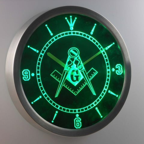 Image of Freemasonry Ornate LED Neon Wall Clock - Green - SafeSpecial