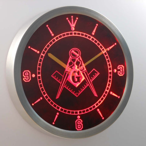 Image of Freemasonry Ornate LED Neon Wall Clock - Red - SafeSpecial