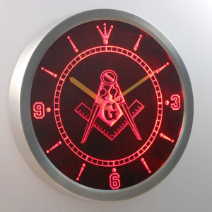 Freemasonry Ornate LED Neon Wall Clock - Red - SafeSpecial