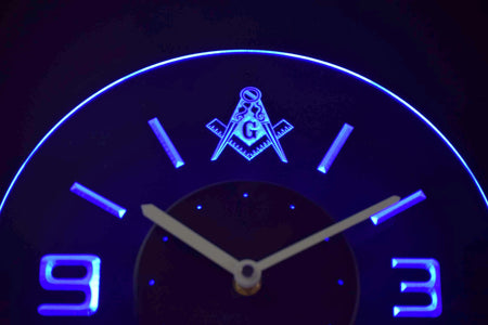 Freemasonry Ornate Modern LED Neon Wall Clock - Blue - SafeSpecial