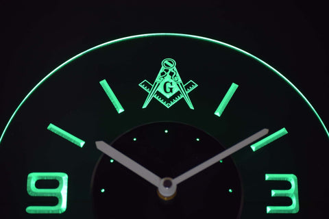 Image of Freemasonry Ornate Modern LED Neon Wall Clock - Green - SafeSpecial