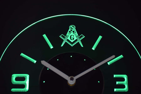 Freemasonry Ornate Modern LED Neon Wall Clock - Green - SafeSpecial