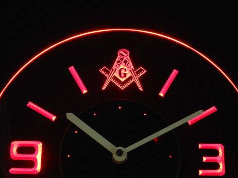 Image of Freemasonry Ornate Modern LED Neon Wall Clock - Red - SafeSpecial