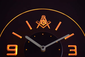 Freemasonry Ornate Modern LED Neon Wall Clock - Yellow - SafeSpecial