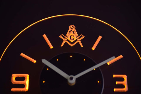 Image of Freemasonry Ornate Modern LED Neon Wall Clock - Yellow - SafeSpecial