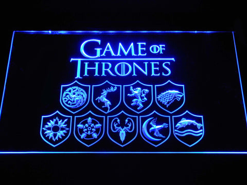 Image of Game of Thrones Family Sigils LED Neon Sign - Blue - SafeSpecial
