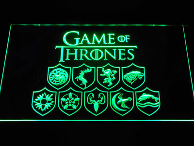 Game of Thrones Family Sigils LED Neon Sign - Green - SafeSpecial