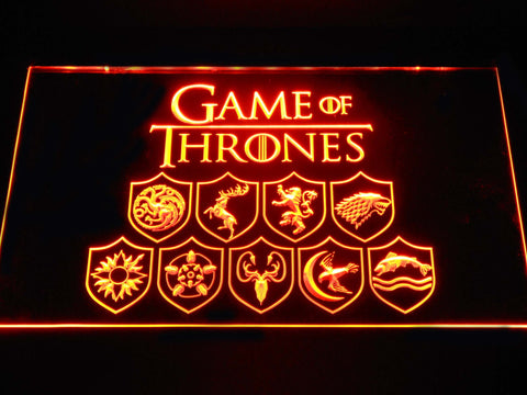 Image of Game of Thrones Family Sigils LED Neon Sign - Orange - SafeSpecial
