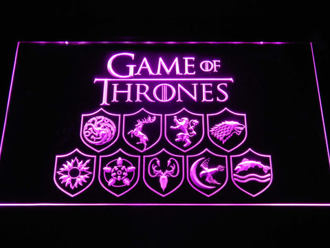 Image of Game of Thrones Family Sigils LED Neon Sign - Purple - SafeSpecial
