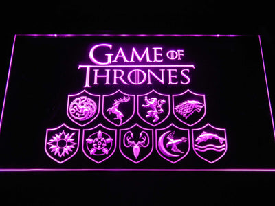 Game of Thrones Family Sigils LED Neon Sign - Purple - SafeSpecial