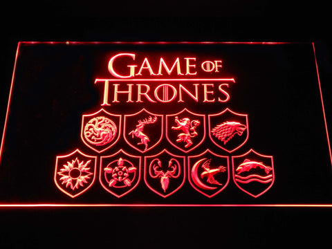 Image of Game of Thrones Family Sigils LED Neon Sign - Red - SafeSpecial