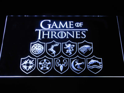 Game of Thrones Family Sigils LED Neon Sign - White - SafeSpecial