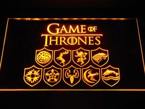 Image of Game of Thrones Family Sigils LED Neon Sign - Yellow - SafeSpecial
