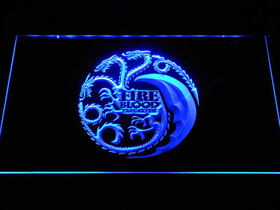 Game of Thrones Targaryen Fire and Blood 2 LED Neon Sign - Blue - SafeSpecial