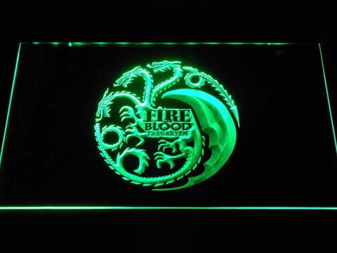 Image of Game of Thrones Targaryen Fire and Blood 2 LED Neon Sign - Green - SafeSpecial