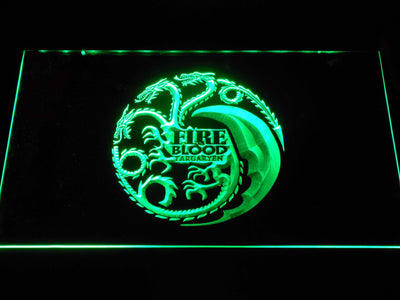 Game of Thrones Targaryen Fire and Blood 2 LED Neon Sign - Green - SafeSpecial