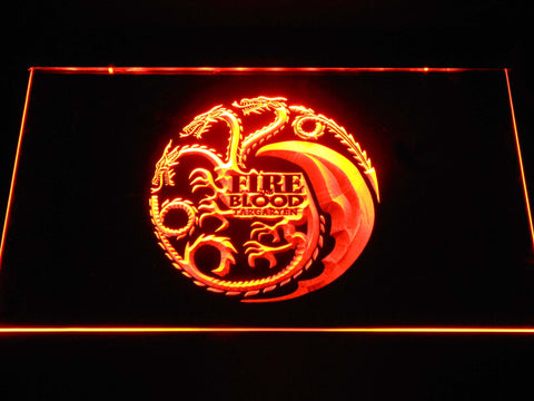 Image of Game of Thrones Targaryen Fire and Blood 2 LED Neon Sign - Orange - SafeSpecial