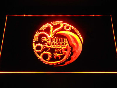 Game of Thrones Targaryen Fire and Blood 2 LED Neon Sign - Orange - SafeSpecial