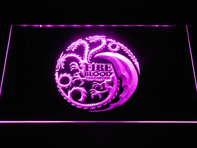 Game of Thrones Targaryen Fire and Blood 2 LED Neon Sign - Purple - SafeSpecial