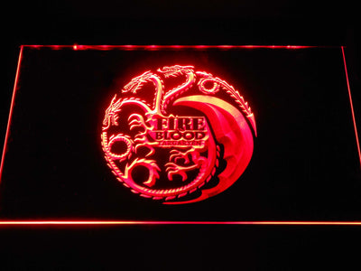 Game of Thrones Targaryen Fire and Blood 2 LED Neon Sign - Red - SafeSpecial