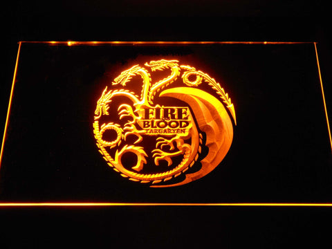 Image of Game of Thrones Targaryen Fire and Blood 2 LED Neon Sign - Yellow - SafeSpecial