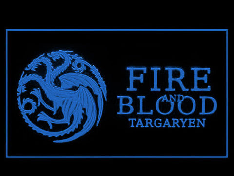 Image of Game of Thrones Targaryen Fire and Blood 3 LED Neon Sign - Blue - SafeSpecial