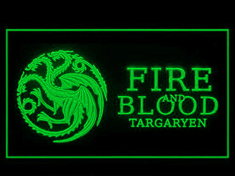 Image of Game of Thrones Targaryen Fire and Blood 3 LED Neon Sign - Green - SafeSpecial