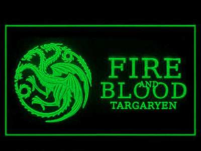 Game of Thrones Targaryen Fire and Blood 3 LED Neon Sign - Green - SafeSpecial