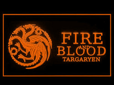 Image of Game of Thrones Targaryen Fire and Blood 3 LED Neon Sign - Orange - SafeSpecial