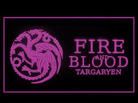 Image of Game of Thrones Targaryen Fire and Blood 3 LED Neon Sign - Purple - SafeSpecial