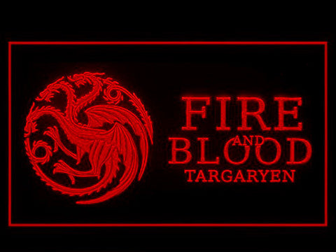 Image of Game of Thrones Targaryen Fire and Blood 3 LED Neon Sign - Red - SafeSpecial