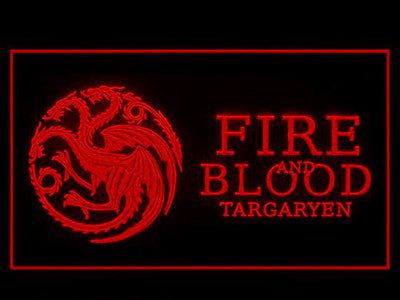 Game of Thrones Targaryen Fire and Blood 3 LED Neon Sign - Red - SafeSpecial