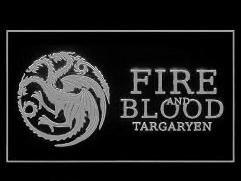 Image of Game of Thrones Targaryen Fire and Blood 3 LED Neon Sign - White - SafeSpecial