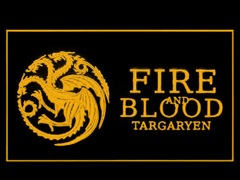 Image of Game of Thrones Targaryen Fire and Blood 3 LED Neon Sign - Yellow - SafeSpecial