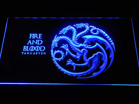 Image of Game of Thrones Targaryen Fire and Blood LED Neon Sign - Blue - SafeSpecial