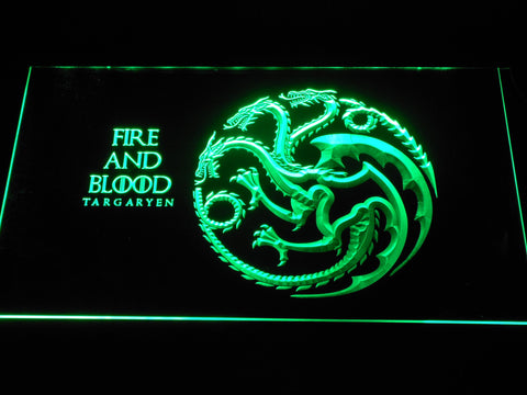 Image of Game of Thrones Targaryen Fire and Blood LED Neon Sign - Green - SafeSpecial
