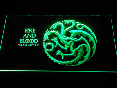 Game of Thrones Targaryen Fire and Blood LED Neon Sign - Green - SafeSpecial