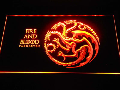 Game of Thrones Targaryen Fire and Blood LED Neon Sign - Orange - SafeSpecial